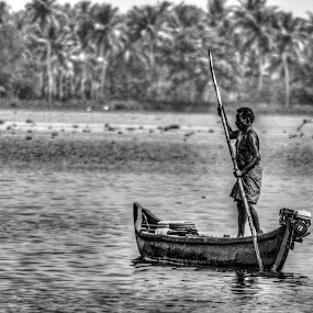 Fisher man  by KarthiKeyan Chandrasekar - Black & White Street & Candid ( #black #canon #google #sigma #worker #indian #fishing #india #facebook )