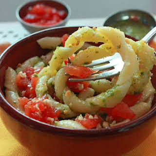 Fusilli Pasta with Zucchini Pesto Sauce and Vesuvius Cherry Tomatoes and Hazelnuts.