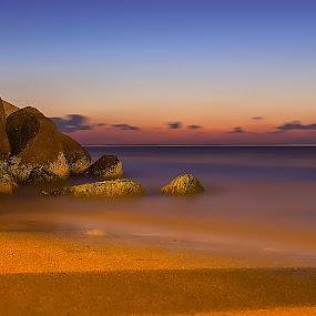 Gold beach by Ashraf Ahmed Habib - Landscapes Waterscapes ( sands, blue hour, sea, rock, beach, seascape, rocks )