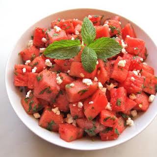 Watermelon Feta Salad with Mint.