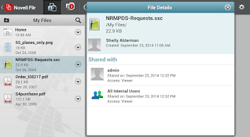 Screenshot of Novell Filr