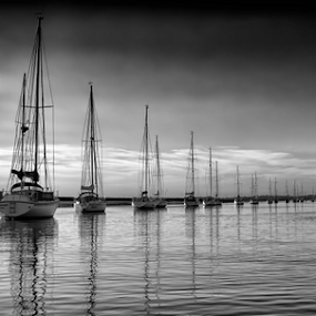 Symmetry by Leigh Brooksbank - Landscapes Waterscapes ( reflection, sunset, boats, essex & suffolk photographers, scenery, mersea )