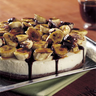 Chocolate Brownie Torte with White Chocolate Mousse and Caramelized Bananas