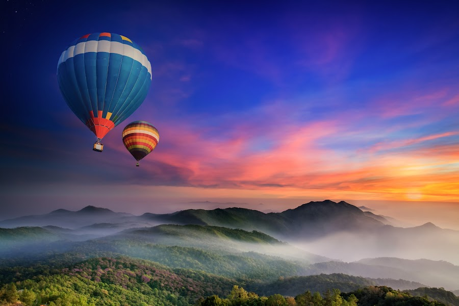 Doi Inthanon National park by Anek Suwannaphoom - Landscapes Mountains & Hills ( inthanon, mountain, thailand, travel, sky, nature, tree, autumn, light, wild, hill, national, white, forest, tourism, balloon, sunlight, environment, dawn, season, fly, view, natural, range, peak, beauty, valley, landscape, hot air, tranquil, chiangmai, fresh, idyllic, asia, misty, green, beautiful, morning, foggy, color, blue, fog, sunset, outdoor, background, summer, cloud, sunrise, high, mist )