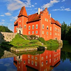 Červená Lhota by Katka Kozáková - Uncategorized All Uncategorized ( history, water, reflection, red, castle,  )