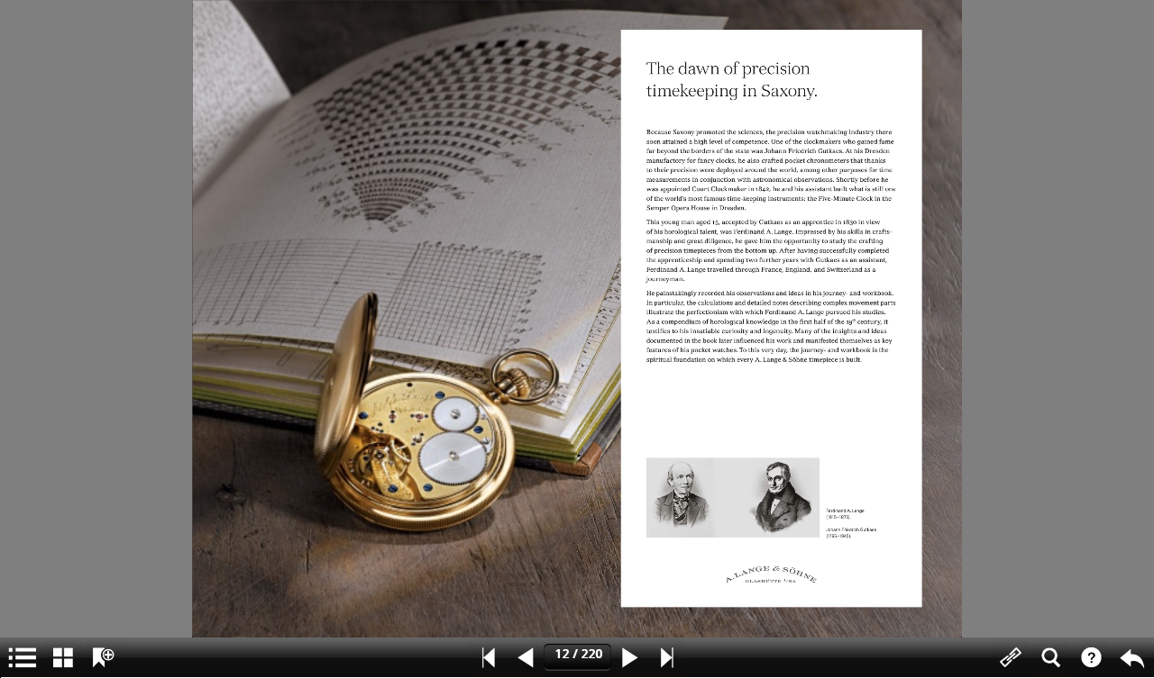 A. Lange & Söhne Catalog – Screenshot