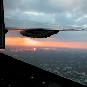 Sunset from plane by Priscilla Capelle-Haehn - Transportation Airplanes ( wing, plane, engine, sunset, transportation )