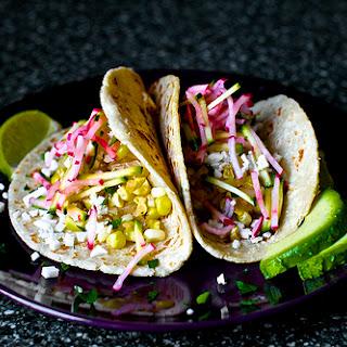 Charred Corn Tacos with Zucchini-Radish Slaw.