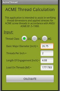 ACME Thread Calculation- screenshot thumbnail