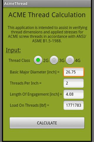ACME Thread Calculation - screenshot