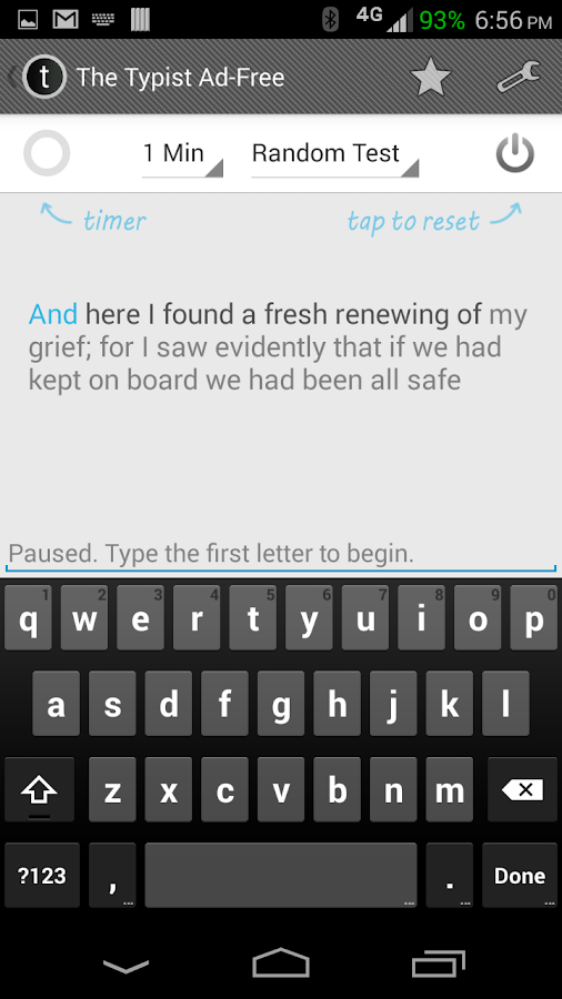 Typist: A Quick Typing Test ++- screenshot