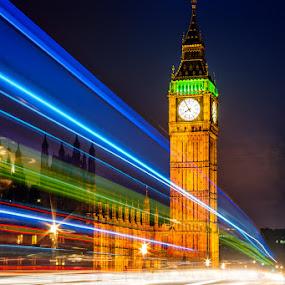 Classic London Theme by Tomas Vocelka - City,  Street & Park  Night ( night photography, london, night lights, nighttime, doubledecker, light trails, westminster bridge, big ben, night shot, Urban, City, Lifestyle )