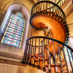 Miracle in Santa Fe by Jim Crotty - Buildings & Architecture Places of Worship ( carpentry, jim crotty, woodwork, architecture, beauty, santa fe, new mexico, amazing, stairs, staircase, wonder, loretto chapel, design, building, interior, worship )