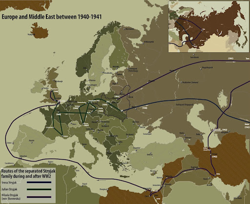 Routes of the separated Stryjak family during and after World War II
