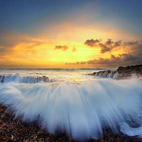 The Splash by Arya Satriawan - Landscapes Waterscapes ( water, splash, color, national geographic, sunset, beach, landscape )
