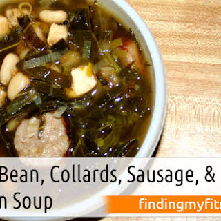 White Bean, Collards, Sausage, and Chicken Soup.