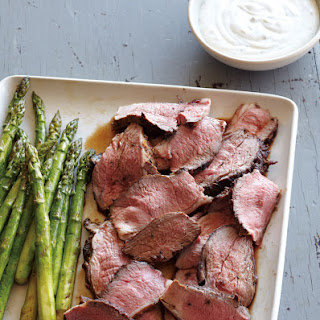 Grilled Leg of Lamb with Lime-Chive Creme Fraiche.