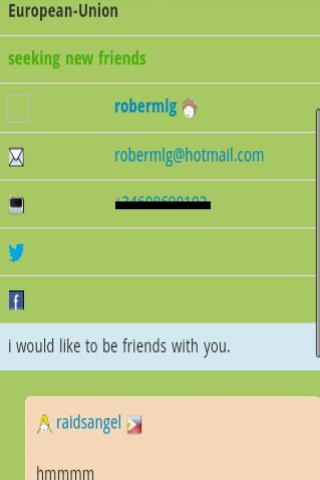 Find wChat Friends BBS - screenshot