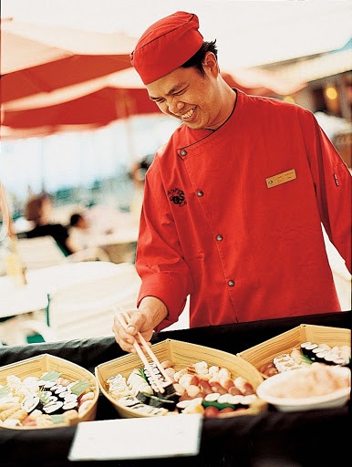 Culinary-Experiences-Chef-at-Asian-Buffet - An exotic Asian buffet lets you sample new tastes during your Crystal Serenity sailing.