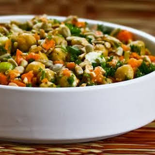 Carrot, Parsley, and Garbanzo (Chickpea) Salad with Feta and Cumin.