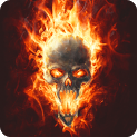 Skull in Fire LWP(No Push Ads) icon