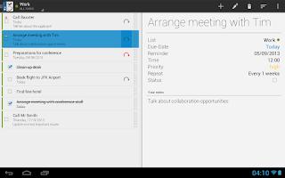 Screenshot of Business Tasks