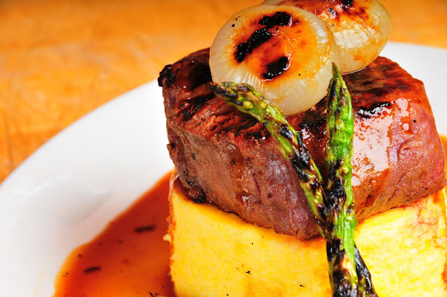 Filet over Polenta with Cipollini Onions
