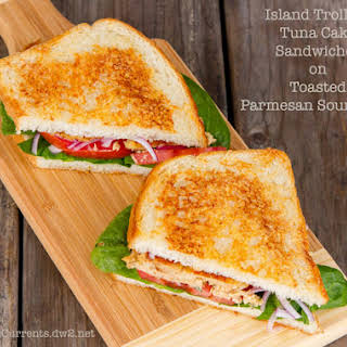 Tuna Cakes Sandwiches with Parmesan Toasted Sourdough.