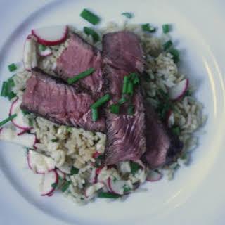 Seared Steak and Sesame Rice Salad.