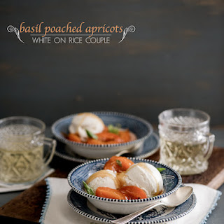 Basil Poached Apricots a la Mode.