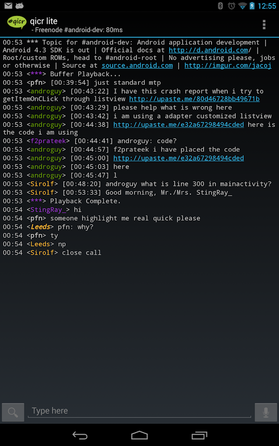 qicr lite IRC client beta - screenshot