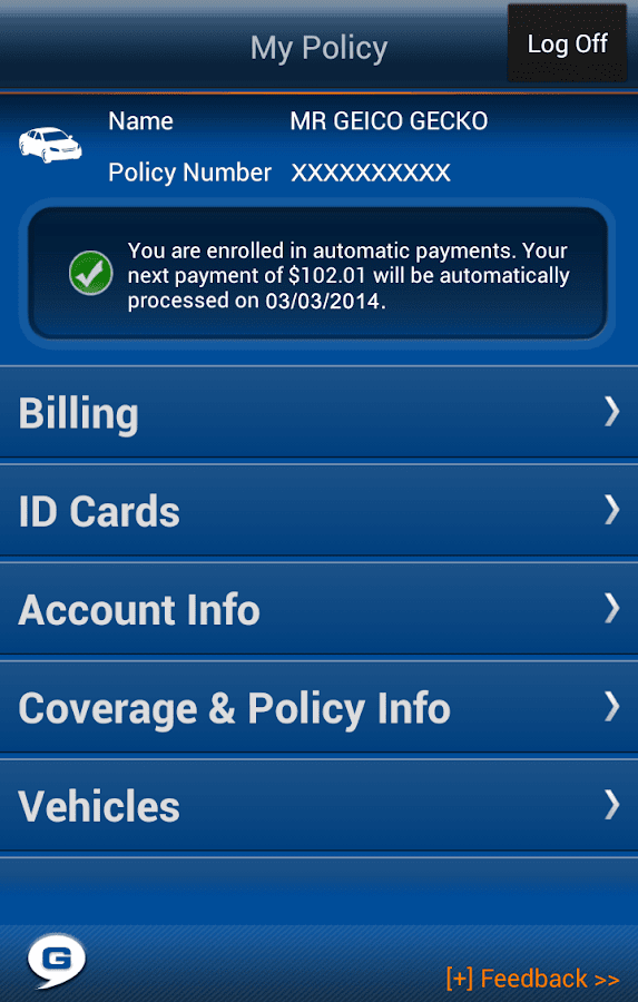Geico App Screenshot