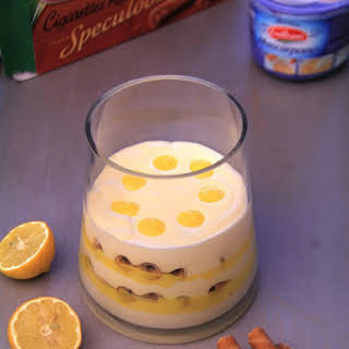 Lemon Curd Tiramisu and Specullos Russian Cigarettes Cookies.
