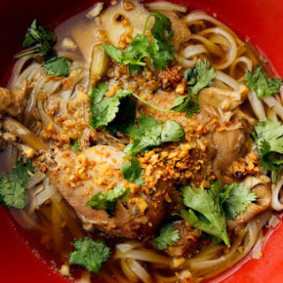 Chicken Legs with Noodles and Broth.