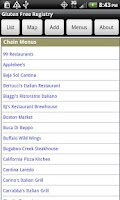 Screenshot of Gluten Free Registry