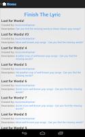 Screenshot of Finish The Lyric