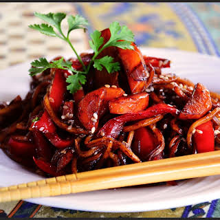Asian Inspired Sesame Noodles With Vegetables.