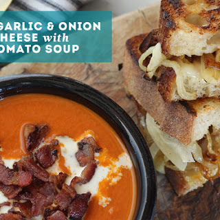 Roasted Garlic & Caramelized Onion Grilled Cheese with Creamy Tomato Soup