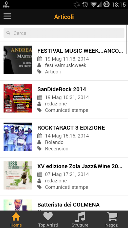 Gruppi Emergenti Mobile- screenshot
