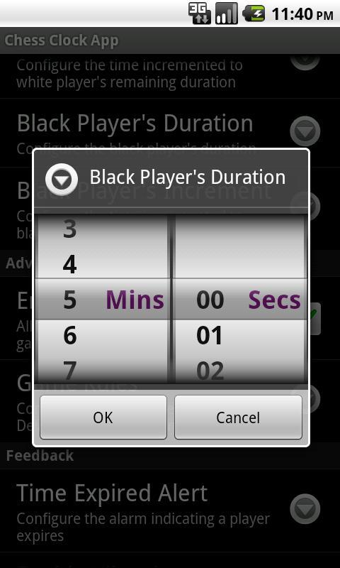 Chess Clock App- screenshot