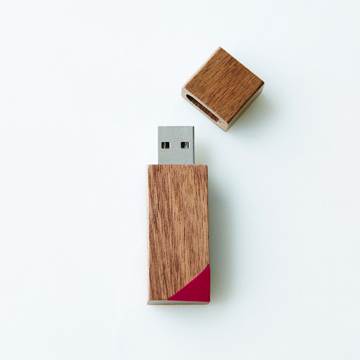 Hand-Painted Wooden Flash Drive, Bevel (8GB)