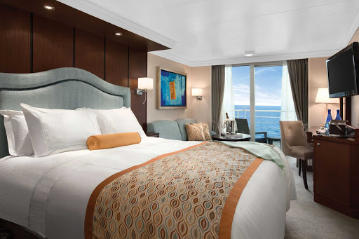 Oceania_OClass_Concierge_Veranda_Stateroom - The impeccably presented Concierge veranda staterooms on Oceania Riviera reflect many of the luxurious amenities found in the penthouse suites.