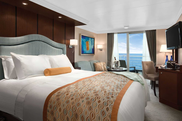 The impeccably presented Concierge veranda staterooms on Oceania Riviera reflect many of the luxurious amenities found in the penthouse suites.