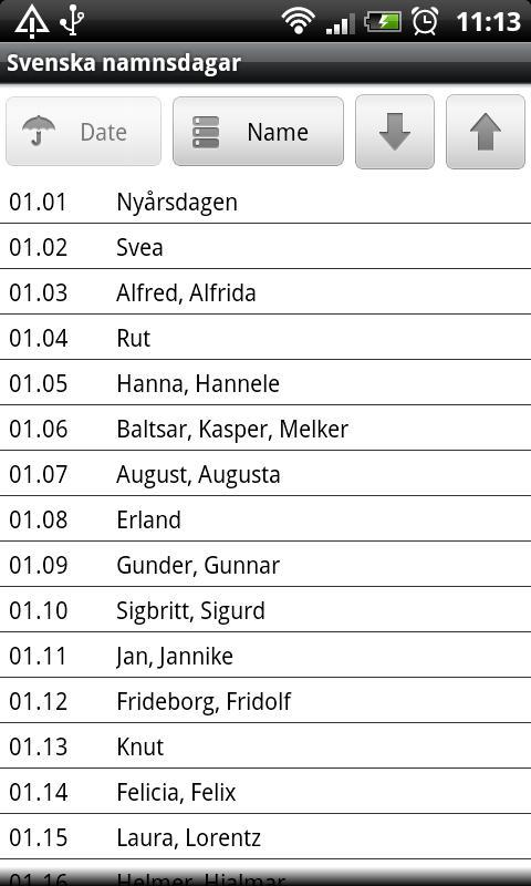 Svenska namnsdagar lite- screenshot