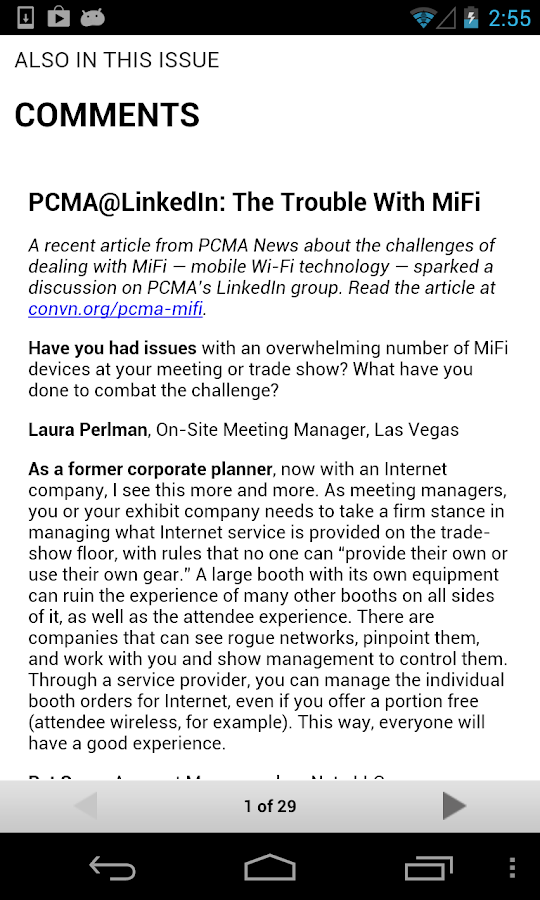 PCMA Convene Magazine - screenshot