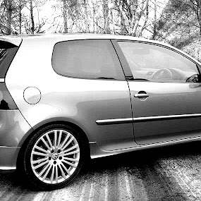 Golf R32 by Lisa Kirkwood - Transportation Automobiles ( golf r32 car black and white )
