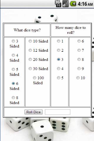 Virtual dice