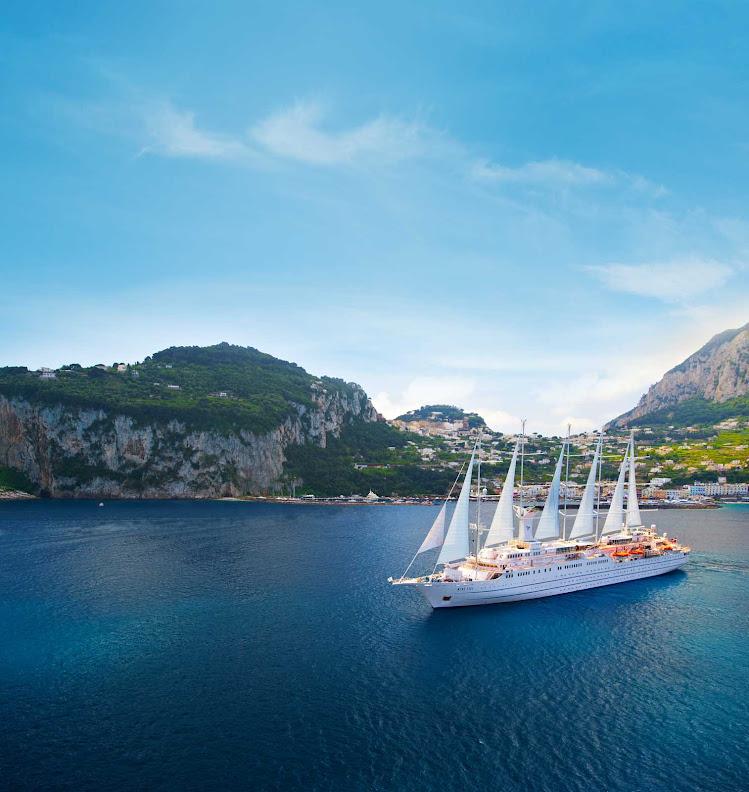 Windstar Cruises' Wind Surf sails off the coast of Capri, Italy.