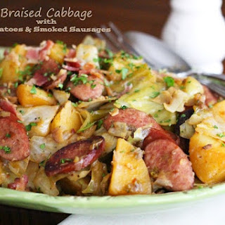 Braised Cabbage with Potatoes & Smoked Sausages.