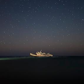 Lost ship by Ashraf Ahmed Habib - Landscapes Starscapes ( old, stars, ship, sea, derelict, seascape )